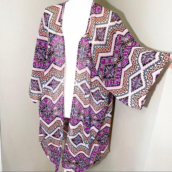 Express Tops - Express Geometric Sheer Kimono